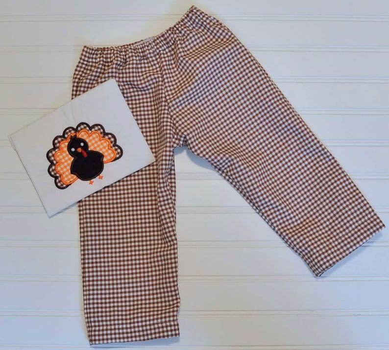 Toddle Boy Thanksgiving Turkey shirt with gingham or corduroy image 0