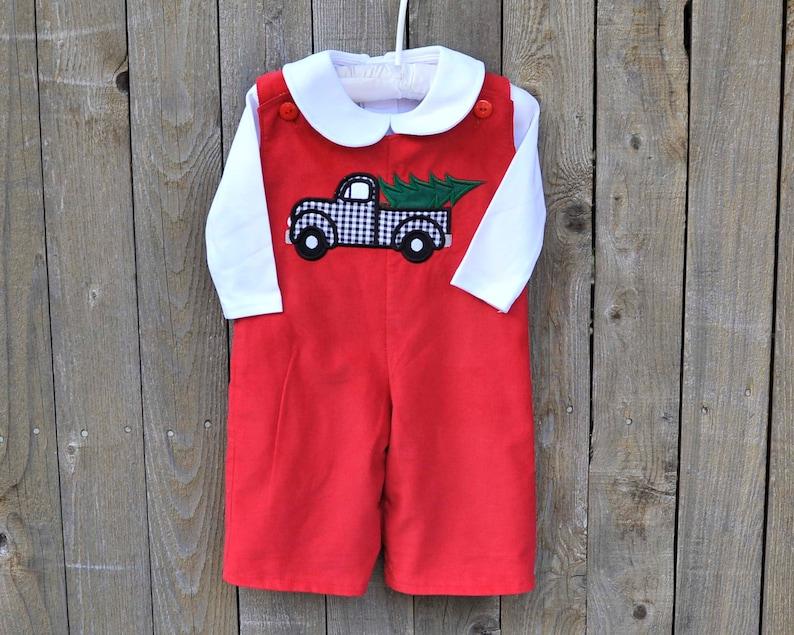 Boys Christmas tree truck romper Red corduroy Jumper dress or jon jon Personalized dress or longalls