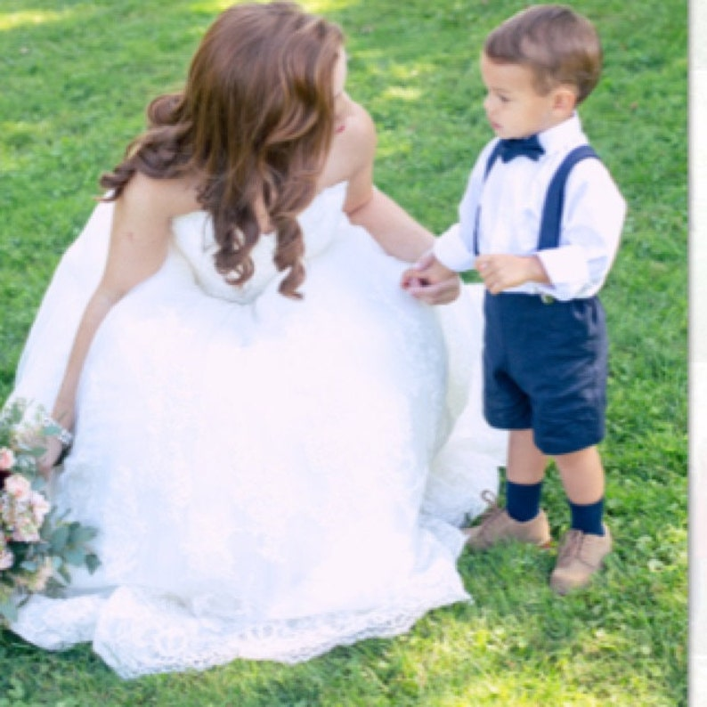 Navy Linen shorts bow tie and suspenders Ring bearer outfit image 0