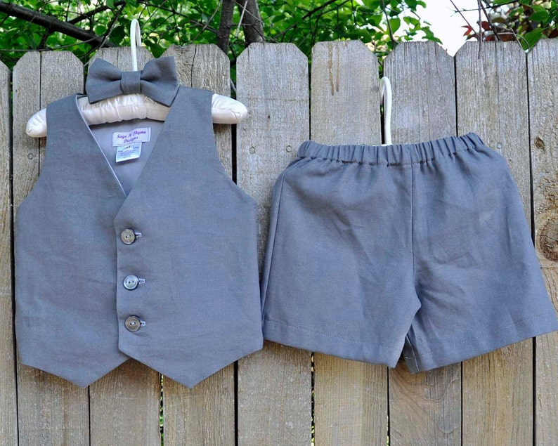 ccb8fe290cd Ring bearer suit charcoal grey linen shorts vest and bowtie