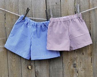 Boys Gingham shorts or pants, many colors, thanksgiving, beach...3m,6m,9m,12m,18m,2t,3t,4t,5,6,7,8,10,12