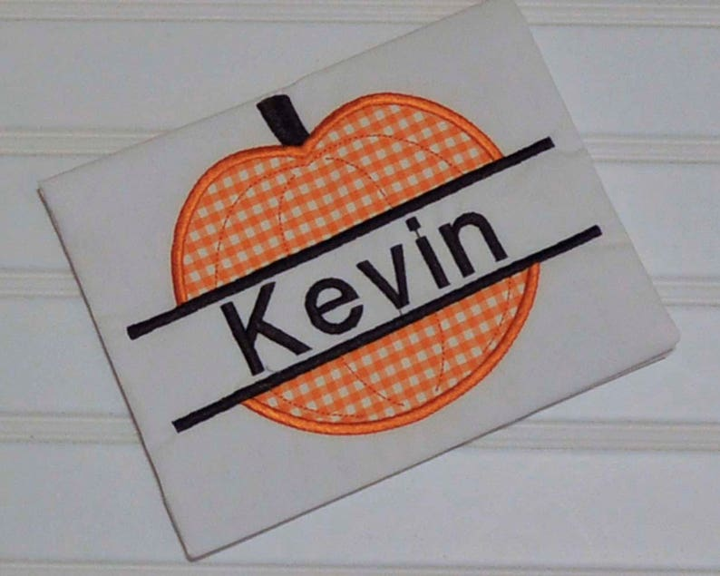 Halloween Pumpkin name shirt with gingham shorts or corduroy image 0