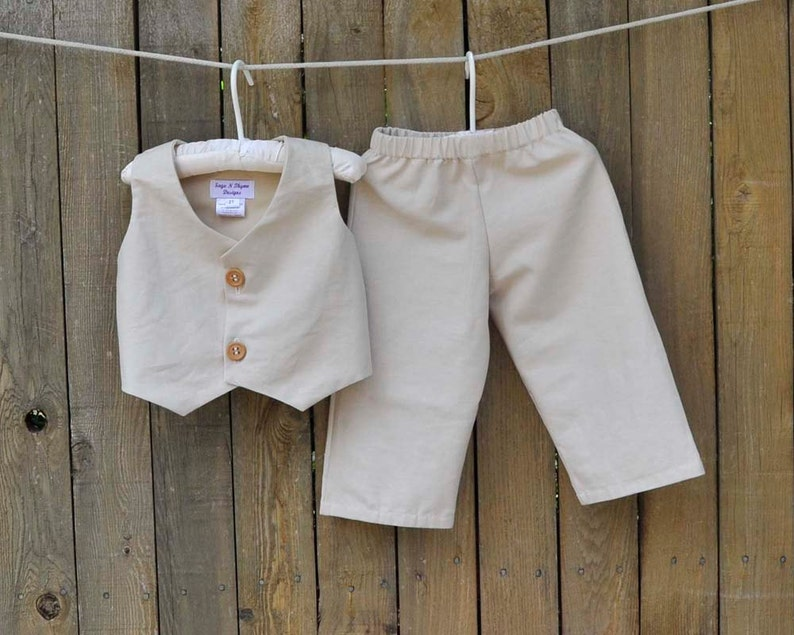 635b3fb18a4 Rustic Wedding Ring Bearer suit Linen Pants and Vest many