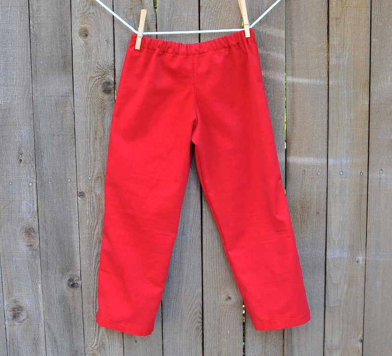 Red Corduroy Pants Girls and Boys pants reversible with image 0