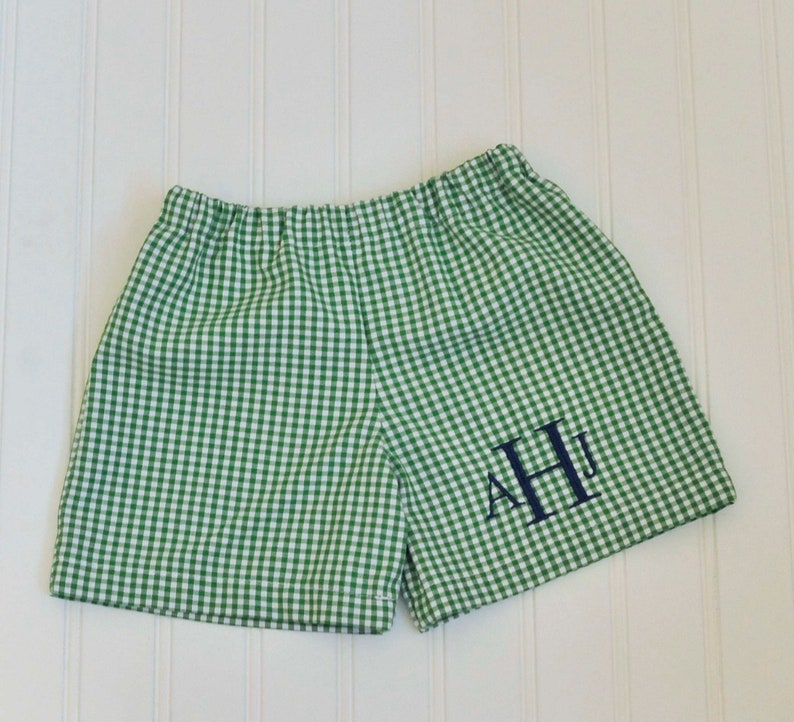 Gingham shorts Can be Personalized with Add On baby boy image 0