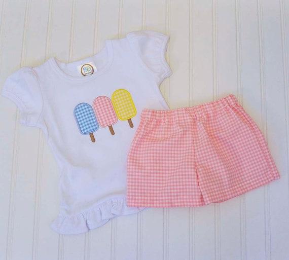a6d87222fd18 Girl Beach shirt Popsicle Summer Gingham shorts and shirt