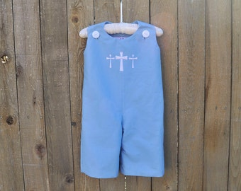 Cross Monogrammed Blue Jon Jon, White cotton dress or romper shortalls or longalls..baby boy baptism clothes, 3m,6m,9m,12m,18m,2t,3t