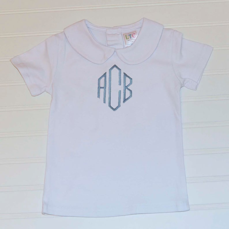 Personalized Boys Peter Pan Collared shirt monogrammed Short image 0