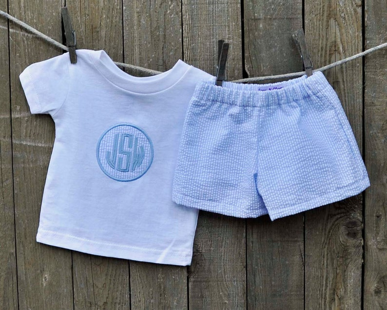 640bc77184e4 Monogrammed Blue Seersucker shorts and shirt personalized