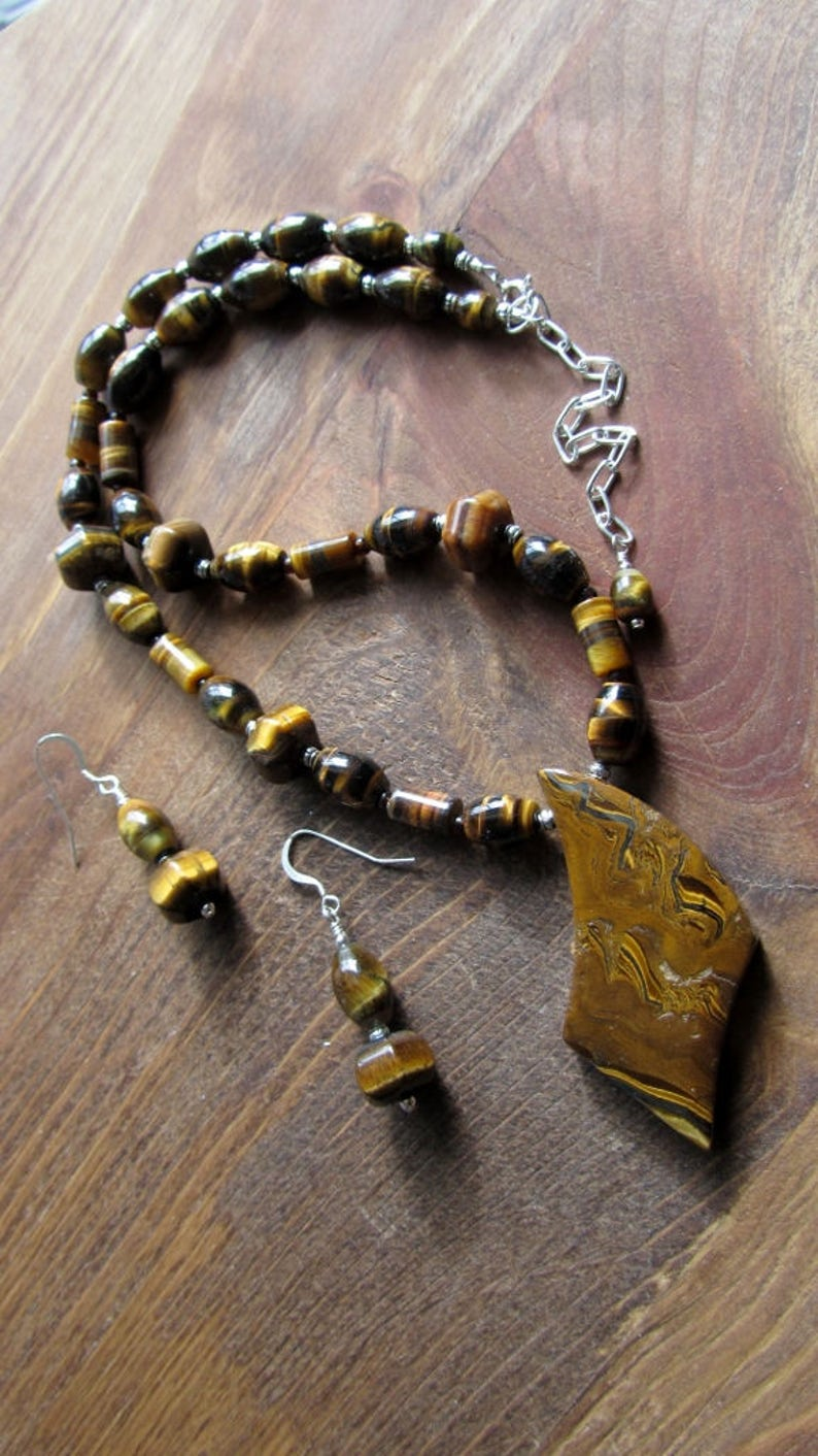 Tigers Eye Beads with a Tigers Iron Focal Necklace and Earring Set Natural Stone Jewelry Chatoyant Golden Brown
