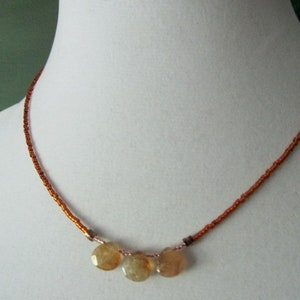 Citrine Teardrops and Coppery Glass Seed Bead Minimalist Necklace Natural Stone Necklace