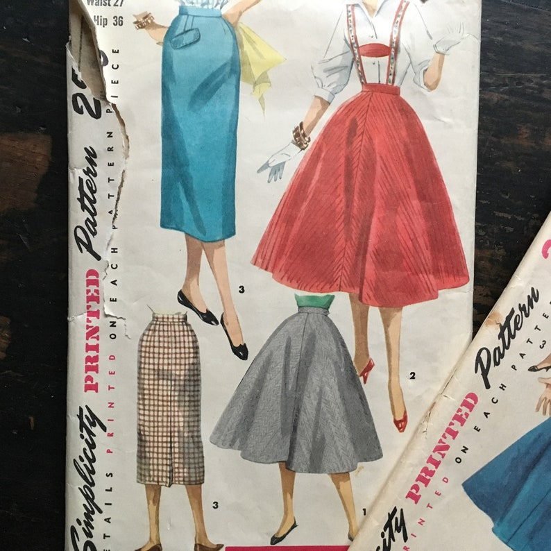 PAIR of Vintage Simplicity Sewing Patterns 1734 and 1281 Skirt Dress Suspenders