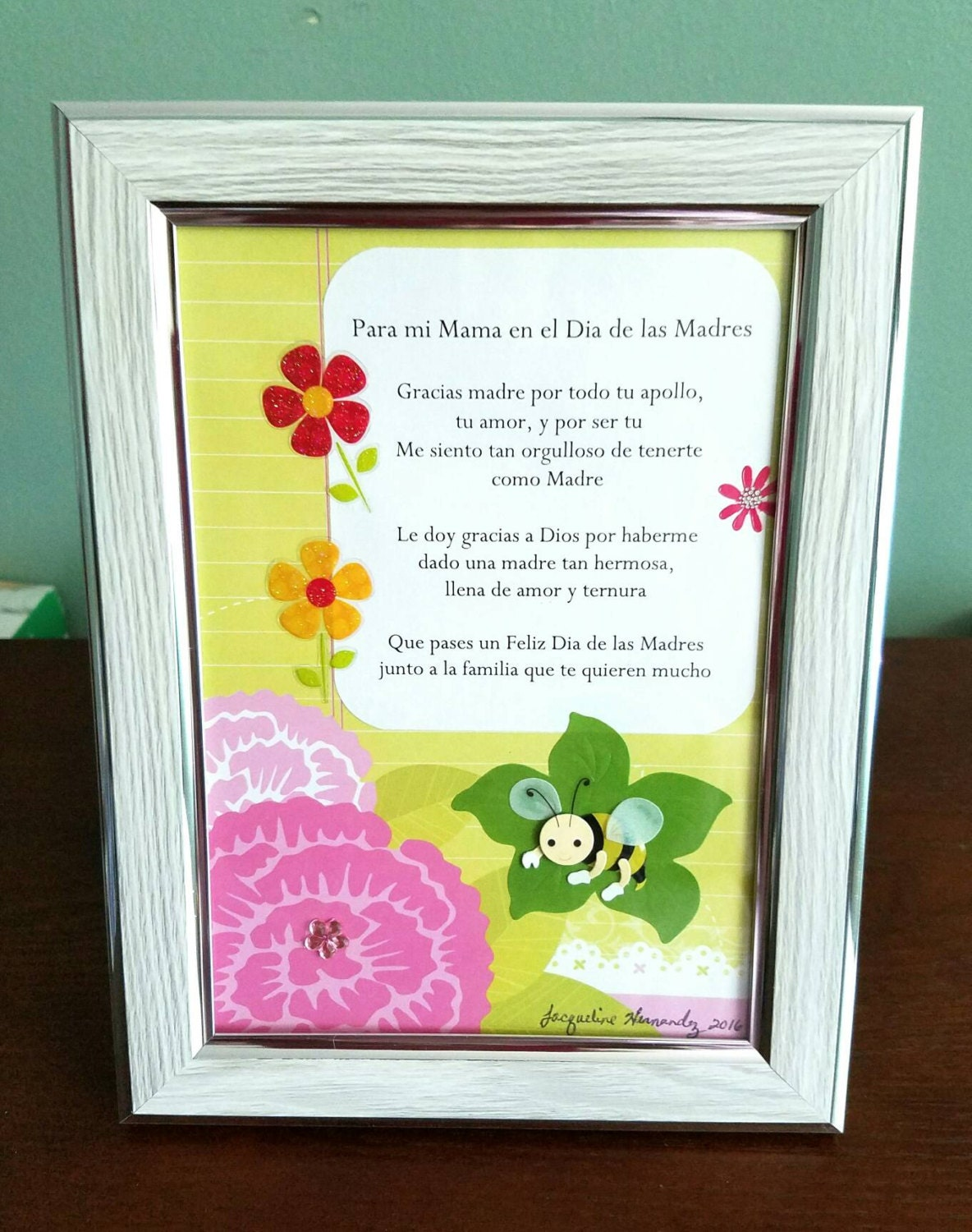 Handmade Spanish Mother\'s Day Photo Frame, 5x7 Mother\'s Day Photo ...