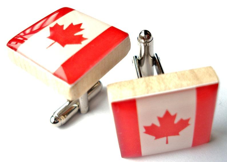 Canadian Flag Tile Art Cufflinks