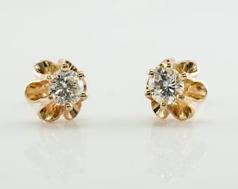 Diamond Earrings, Floral Flower 14K Gold Studs