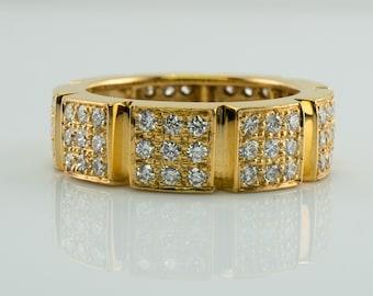 Diamond Ring, Modern 18K Gold Eternity Band
