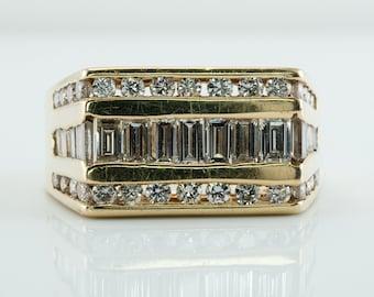 Mens Diamond Ring, Estate 14K Gold Band