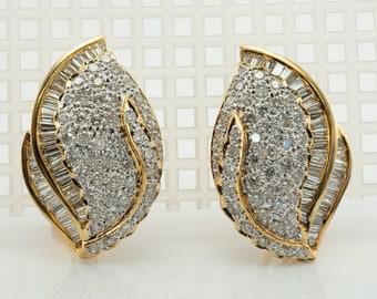 Diamond Earrings, Floral Flower, 18K Gold 3.08 TDW