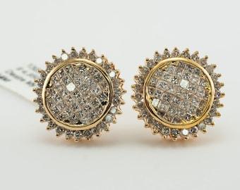 Diamond Earrings, Geometric Circle 14K Gold 2.00 TDW