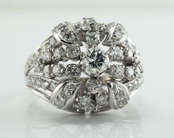 Diamond Ring, Vintage 14K Gold Cocktail Cluster 1.18 TDW