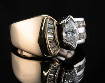Diamond Ring, 14K White  & Yellow Gold, Square Band