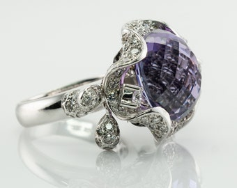 Diamond Amethyst Ring, 18K White Gold Cocktail