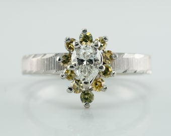 Diamond Ring, 14K White Gold, Pear cut, Yellow Canary Sapphires, Engagement, Estate