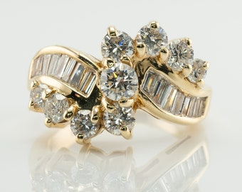 Diamond Ring Vintage 14K Gold Cluster 1.85 TDW