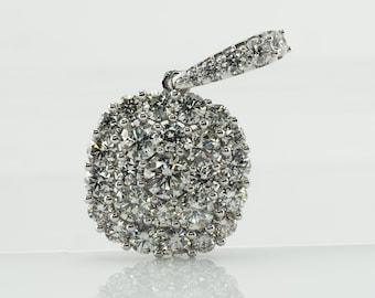Cluster Diamond Pendant, 14K White Gold 1.74 TDW