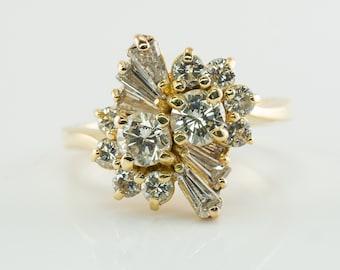 Diamond Ring Vintage Cluster, 18K Gold Band 1.96 TDW