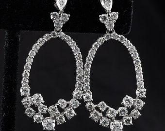 Diamond Earrings, Drop Dangle, 14K White Gold