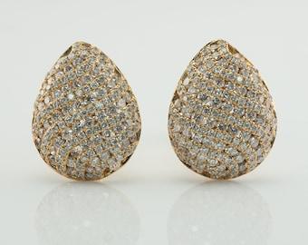Diamond Earrings, 14K Gold Teardrop Pear 4.11 TDW