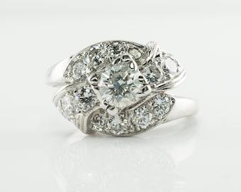 Diamond Ring, 14K Gold Vintage Engagement 1.20 TDW