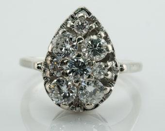 Diamond Ring, 14K White Gold, Pear cut,  Vintage