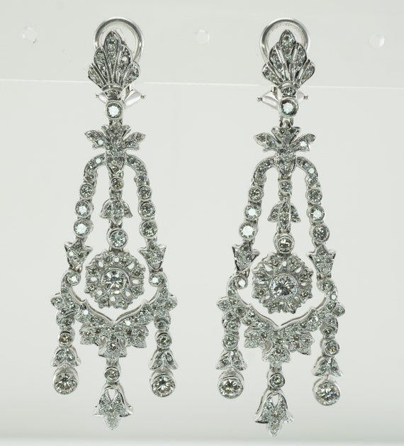 Art Deco Diamond Earrings, Vintage 18K White Gold,