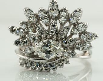 Crown Tiara Diamond Ring, Vintage 14K Gold Cocktail 1.60 TDW