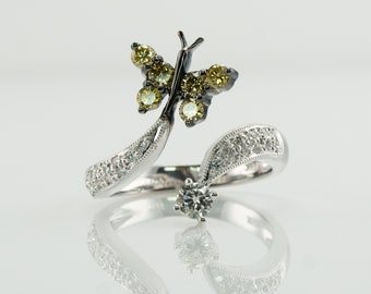 Diamond Ring Insect Butterfly, 18K White Gold