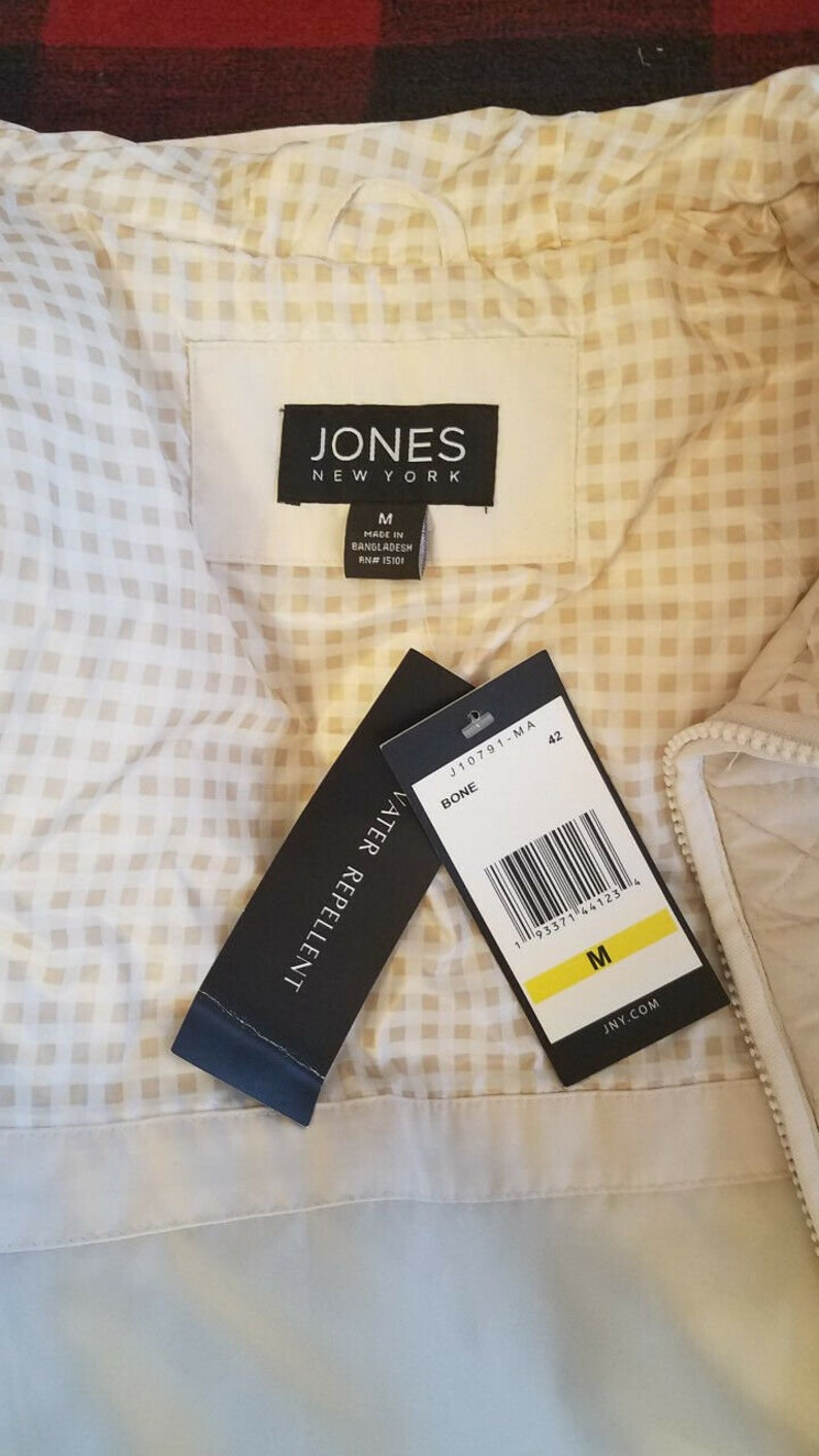 Jones New York Water Resistant Hooded Quilted Jacket Medium Check