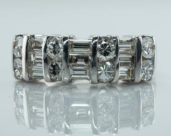 Natural Diamond Ring, 14K White Gold Band, Estate