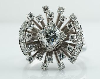 Diamond Ring, Vintage 14K Gold Cocktail Cluster 1.11 TDW