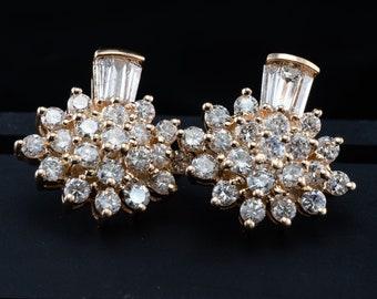 Diamond Earrings, Floral Cluster 14K Gold 2.48 TDW