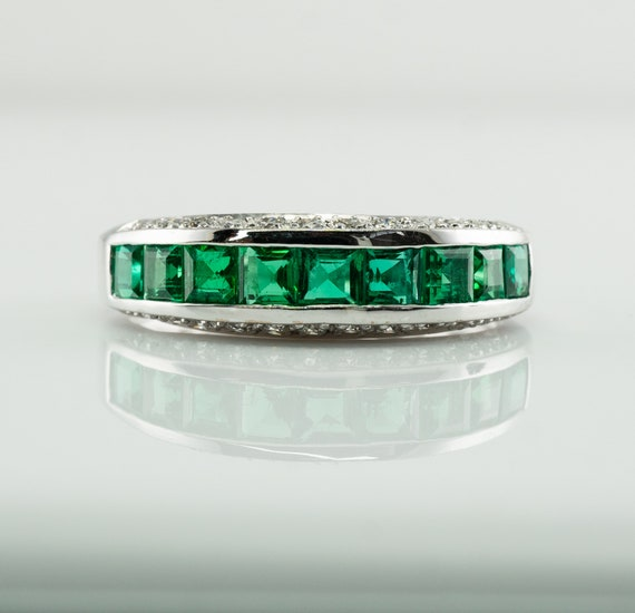 Emerald Ring, Diamond Ring, Estate 18K White Gold,