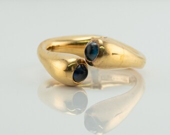 Sapphire Ring, Vintage 18K Gold Open Band Italian