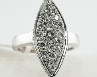 Diamond Ring, Vintage 14K Gold Shield 1.00 TDW