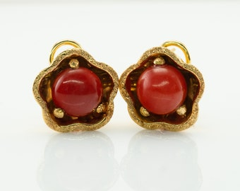 Natural Red Coral Earrings, 18K Gold Italian
