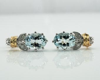 Diamond Aquamarine Earrings, Blue Oval 14K Gold