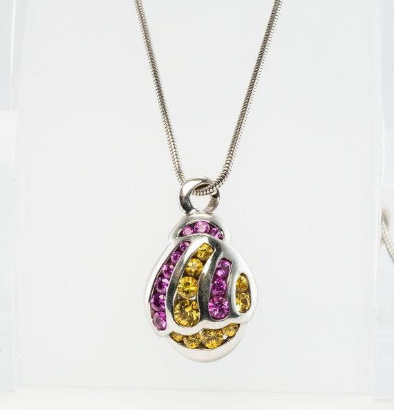 Yellow & Pink Sapphire Pendant, 18K Gold