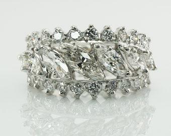 Diamond Ring Vintage Platinum Eternity Band 2.84 TDW