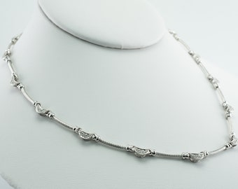Philippe Charriol Diamond Cable Necklace 18K White Gold