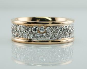 Diamond Ring, 14K Gold Eternity Band, Engagement Wedding
